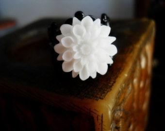40% OFF SALE! - White Chrysanthemum Filigree Ring
