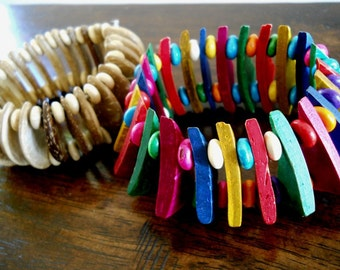40% OFF SALE! - Creamy Beige and Multi Color Wooden Cuff Bracelets