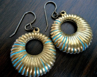 CRULLER ANTIQUE-Vintage Fluted Verdigris Brass Hoops with Hand Antiqued French Hook Earrings