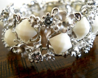 40% OFF SALE! - Ivory Cream Faceted Squares with Rhinestones Cuff Bracelet