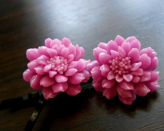 40% OFF SALE! Purple Chrysanthemum with Black Brass Bobby Pins