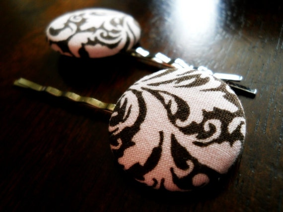 40% OFF SALE! DAMASK-Fabric Button Damask Hairpins