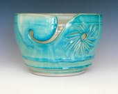 """Turquoise Yarn Bowl 6.5"""" wide 4.25"""" tall"""