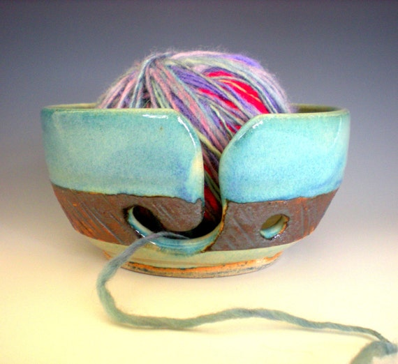 "SALE////Turquoise Yarn Bowl, 5.5"" WIDE 2.75"" TALL"