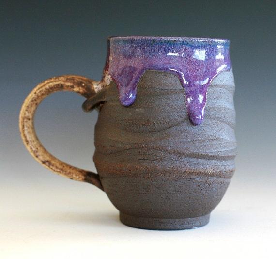 Large Purple Coffee Mug, Holds 16 oz, handmade ceramic cup, coffee cup