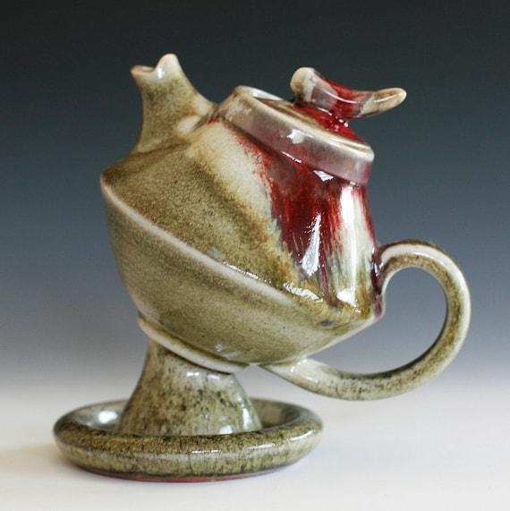 First Rose Teapot, Handmade Porcelain Teapot