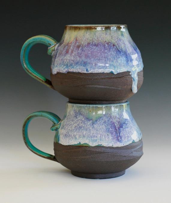 Pair of Large Coffee Mugs, handmade ceramic cups, ceramic stoneware mugs