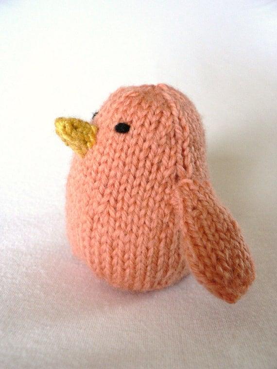Handknit Papaya Song Bird Toy