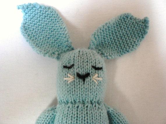 Handknit Cyan Blue Bunny Toy