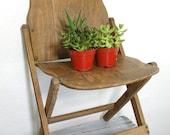 vintage antique wooden folding chair