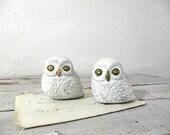vintage pair of chalkware owls