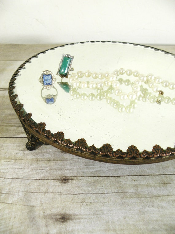 RESERVED FOR SURFINCK-antique beveled mirror tray