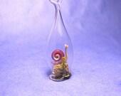 Lampwork terrarium snail necklace glass