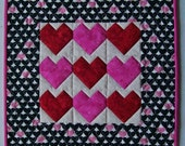 Small Valentine Heart Patchwork Miniature Quilt
