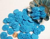 50 Turquoise Teal Blue 1 inch  Fabric Miniature Yo Yos Applique Quilt Pieces Scrapbooking Embellishments