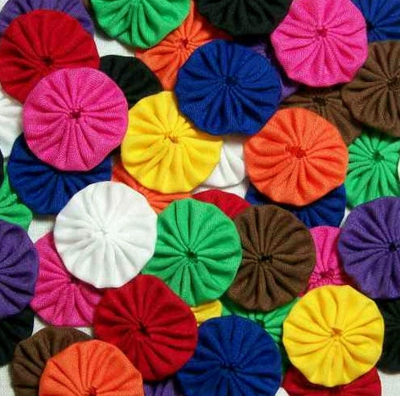 50 Sampler Pack Rainbow Mix 1 inch Yo Yos Applique Quilt Trim Scrapbooking Embellishments