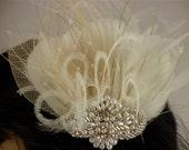Rhinestone, Pearl, Silver Beaded Bridal Ivory Feather Fascinator, Rhinestone Hair Clip, Bridal Fascinator, Fascinator