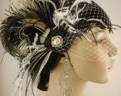 Feather Bridal Fascinator, Bridal Fascinator, Fascinator, Hair Clip, Bridal Headpiece, Wedding Veil, Bridal Veil, Victorian Gothic Inspired