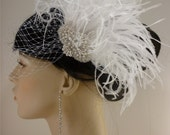 Ostrich Hair Clip, Pearl, Silver Beaded Bridal White Ostrich Feather Fascinator, Bridal Fascinator