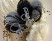 Bridesmaid Hair Accessories, Bridal Fascinator, Feather Fascinator, Fascinator, Bridesmaid, Black and Silver Gray