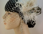 Wedding Bridal Fascinator, Bridal Fascinator, Feather Fascinator, English Net Veil, Diamante Crystal Rhinestone Brooch, Vintage Bride