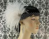 Bridal Feather Fascinator, Bridal Fascinator, Bridal Headpiece, Bridal Hair Accessories, Wedding Hair Accessories, Bridal Veil, Wedding Veil