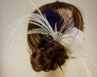 Peacock Hair Clip, Bridal Fascinator, Wedding Headpiece, Feather Fascinator, Bridal Hair Accessories, Gatsby Wedding, Great Gatsby Headpiece