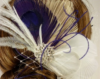 Bridal Feather Fascinator, Bridal Fascinator, Feather Fascinator, Fascinator, Wedding Veil, Bridal Veil, Purple and Ivory