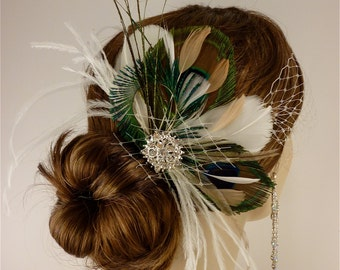Bridal Fascinator, Feather Wedding Head Piece, Feather Fascinator, Bridal Hair Accessories, Bridal Veil Set, Gatsby Wedding, Great Gatsby
