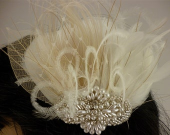 Rhinestone, Pearl, Silver Beaded Bridal Ivory Feather Fascinator, Rhinestone Hair Clip, Bridal Fascinator, Fascinator
