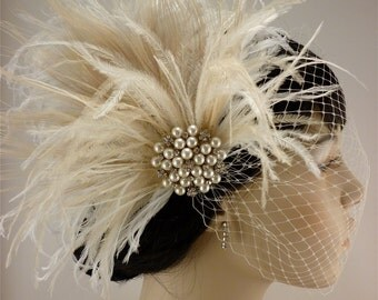 Fascinator, Rhinestone Pearl Bridal Feather Fascinator, Ivory Feather Fascinator, Bridal Headpiece, Wedding Veil,  Old Hollywood