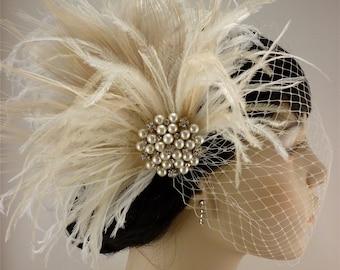 Fascinator, Rhinestone Pearl Bridal Feather Fascinator, Ivory Feather Fascinator, Bridal Headpiece, Wedding Veil,  Old Hollywood