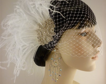 Rhinestone Bridal Feather Fascinator, White Feather Fascinator, Bridal Headpiece, Rhinestone Hair clip, Wedding Veil - Hollywood Style