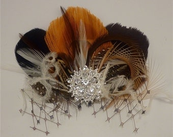 Bridesmaid Hair Clip,  Bridal Fascinator, Feather Fascinator, Fascinator, Bridesmaid Fascinator, Bridal Headpiece, Bridesmaids