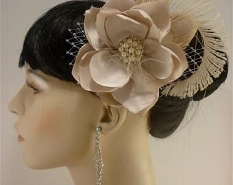 """Handmade Champagne or Ivory Bridal Flower Fascinator 4.5"""" flower, Bridal Headpiece, Bridal Fascinator, Wedding Fascinator, Flower Hair Clip"""