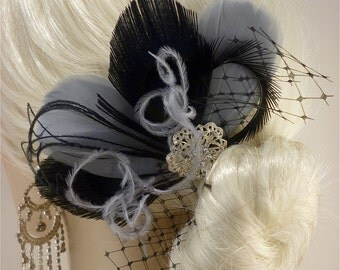 Bridesmaid Hair Accessories, Bridal Fascinator, Feather Fascinator, Fascinator, Bridesmaid, Black and Silver Gray