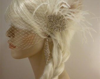 Bridal Fascinator, Feather Fascinator , Wedding Veil, Bridal Headpiece, Rhinestone Hair Clip, Ivory, Hollywood Bride