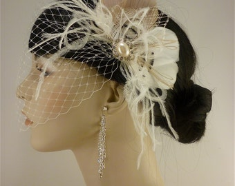 Wedding Hair Accessory, Feather Fascinator, Bridal Fascinator, Bridal Hair accessory, Bridal Veil, Wedding Veil