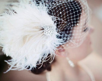 Bridal Feather Fascinator, Bridal Fascinator, Bridal Headpiece, Bridal Hair Accessories, Bridal Veil