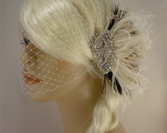 Wedding Hair Clip, Fascinator, Rhinestone Hair clip, Feather Fascinator, Bridal Veil, Wedding Veil, Ivory and Black