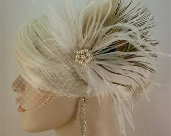 Wedding Bridal Fascinator, Bridal Fascinator, Feather Fascinator , Wedding Veil, Ivory and Natural Peacock - The Couture Bride