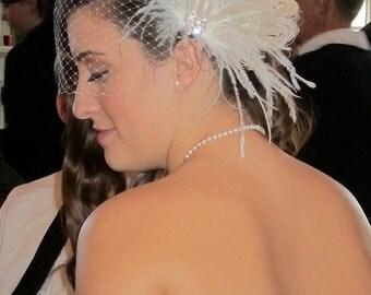Rock On  - Bridal Feather Fascinator- Rhinestone Hair clip, Bridal Headpiece, Wedding Veil, Wedding Fascinator, Feather Fascinator