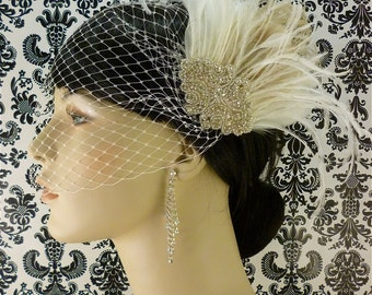 Bridal Fascinator, Feather Fascinator , Wedding Veil, Bridal Headpiece, Rhinestone Hair Clip, Hollywood Bride