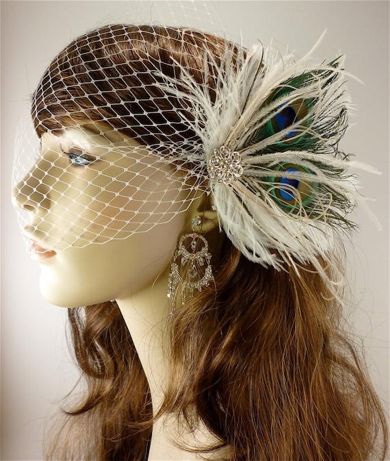 "The Peacock Wedding - Feather Bridal Fascinator- (2 Items) Peacock,  Ostrich Feather Fascinator & Ivory 9"" Bandeau Veil"