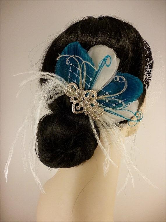 Bridal Feather Fascinator, Bridal Fascinator, Feather Fascinator, Fascinator, Hair Clip, Wedding Veil, Bridal Veil, Ivory and Turquoise