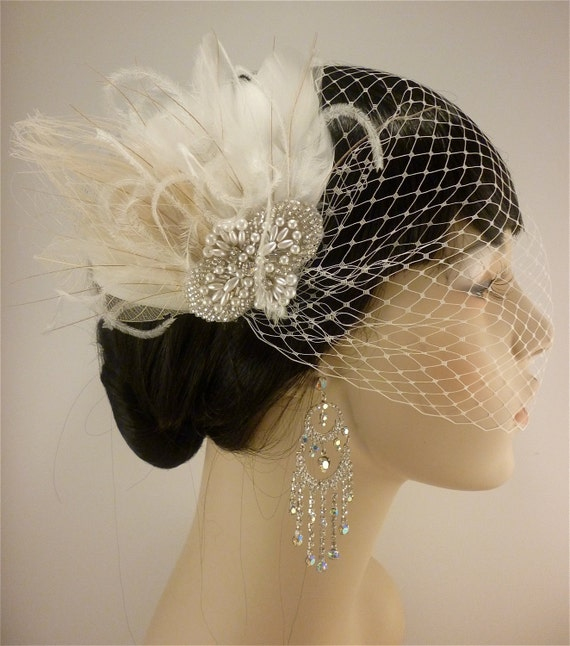 Fascinator, Rhinestone Pearl Silver Beaded Bridal Ivory Feather Fascinator, Rhinestone Hair Clip, Bridal Fascinator, Fascinator, Bridal Veil