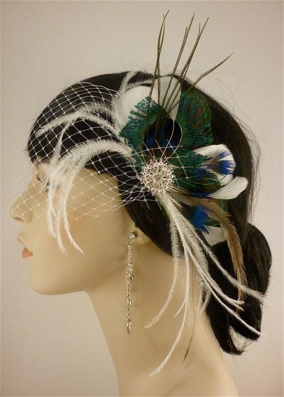 Wedding Hair Fascinator, Wedding Hair Accessories, Feather Hair Clip, Wedding Hair Clip, Bridal Fascinator, Wedding Hair, Peacock Fascinator
