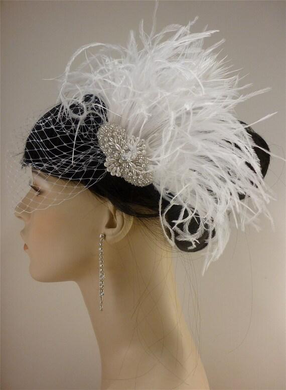 Rhinestone, Pearl, Silver Beaded Bridal White Ostrich Feather Fascinator, Rhinestone Hair Clip, Bridal Fascinator, Fascinator, Bridal Veil