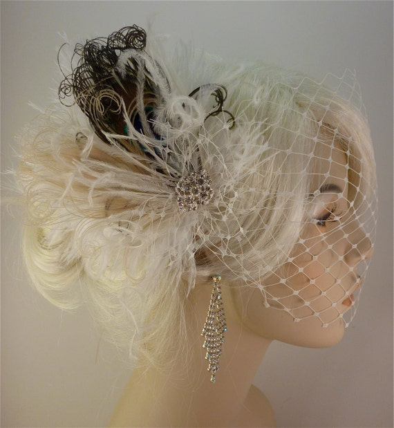 Wedding Bridal Fascinator, Bridal Fascinator, Feather Fascinator, English Net Veil, Diamante Crystal Rhinestone Brooch Vintage Bride