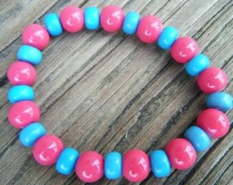 Hot Pink and Blue Stretch Bracelet